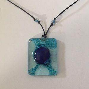 Jewelry - PRETTY HANDMADE COBALT & LIGHT BLUE GLASS PENDANT